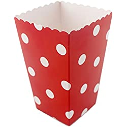IPALMAY Mini Paper Popcorn Boxes Pack of 36 - Birthday Favor Box - Buffet Boxes - Sweet Boxes, Family Movie Night Cinema Boxes, Red and White Polka Dot