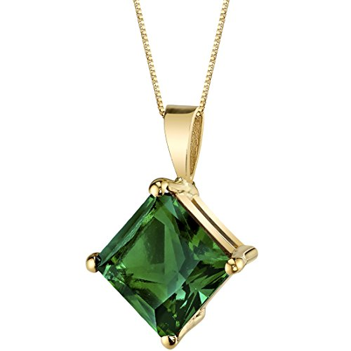 (14 Karat Yellow Gold Princess Cut 2.25 Carats Created Emerald Pendant)