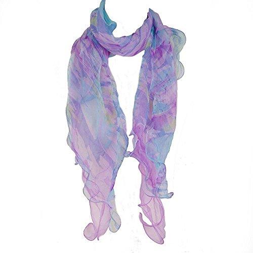 Layers Ladies Chiffon Silk Scarf - Zodaca Fashion Lightweight Double Layer 100% Floral Ruffle Summer Silk Chiffon Scarf for Women, Purple