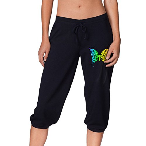 Sparkly Beautiful Rainbow Butterfly Active Womens Lightweight Relaxed Fit Drawstring Woven Capri (Rainbow Low Rise Jeans)