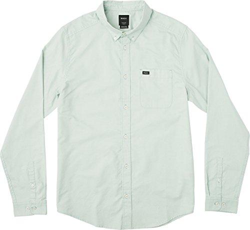 Haze Green - RVCA Men's That'll Do Oxford Long Sleeve Woven Shirt, Green Haze, XL