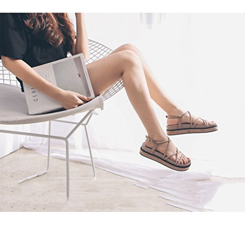 Size Summer Shoes Dream Student Pink 37 Bottomed Female Color Roman Retro Comfortable Shoes Heavy Flat Sandals qt86t