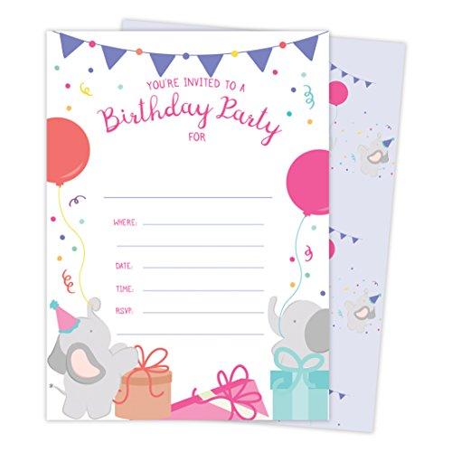 Elephant Happy Birthday Invitations Invite Cards (25 Count)