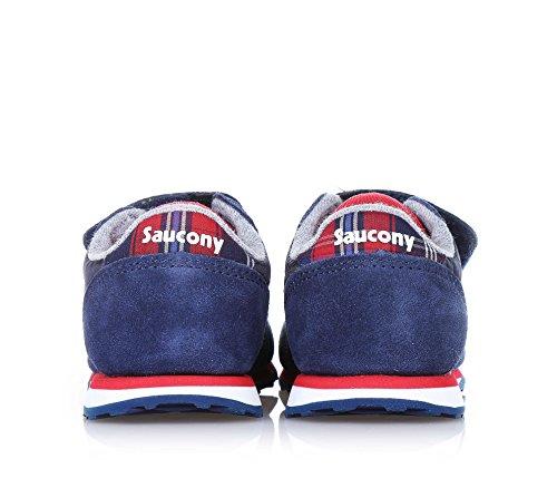 SAUCONY - Blauer und roter Sportschuh, aus Wildleder und Nylon, mit Klettverschluss, Leder- und Stoffapplikationen, hinten ein Logo, Jungen
