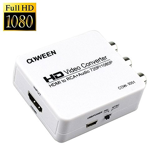 COWEEN HDMI to RCA Converter Box Mini 1080P From HDMI to AV 3RCA CVBS Composite Video Switcher Adapter Support PAL NTSC