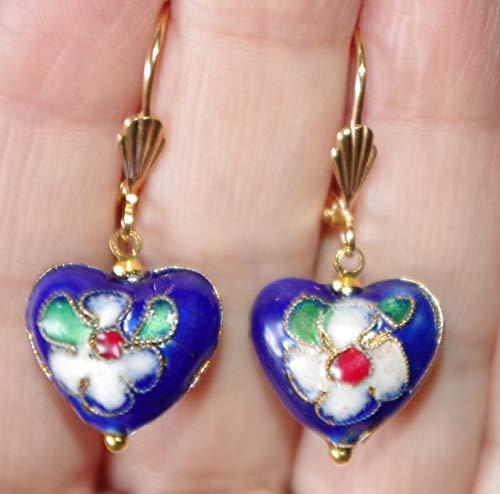 (Cloisonne Gorgeous Flower Heart 14K GF Royal Blue Enamel Drop Lever Back Earrings)