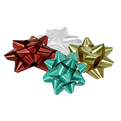 36 Peel and Stick Colored Star Bows for Gift Wrap BY B.N.D