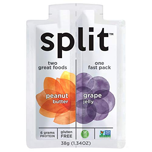 Peanut Butter and Grape Jelly Squeeze Packs by Split Nutrition, Gluten-free, Non-GMO, Plant-Based, Energy Fast Snack, Pack of 10 (1.34oz each)