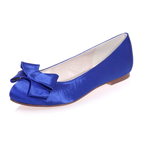 Blue Silk Party L Summer YC autumn 9872 Evening Shoes Night Gown amp; Wedding 23 Women's Flats amp; amp; Spring XXqFBUw6