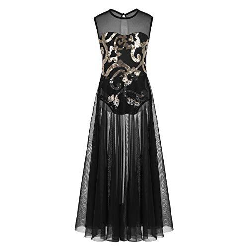 ranrann Kids Girls Floral Sequins Spirit Praise Lyrical Dance Costume Tank Leotard Maxi Skirt Black 13-14]()