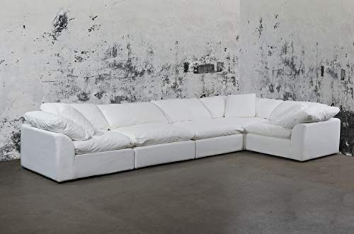 Sunset Trading SU-1458-81-3C-2A Cloud Puff 5 Piece Modular Performance White Sectional Slipcovered Sofa