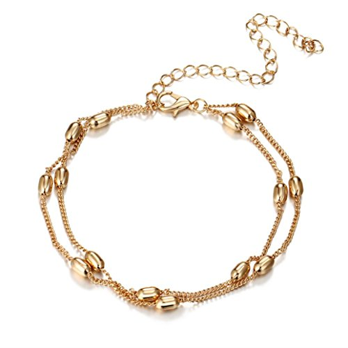 rm Women Bohemian Shiny Multilayer Beaded Pendant Chain Bracelet Gold Color (Gold) ()