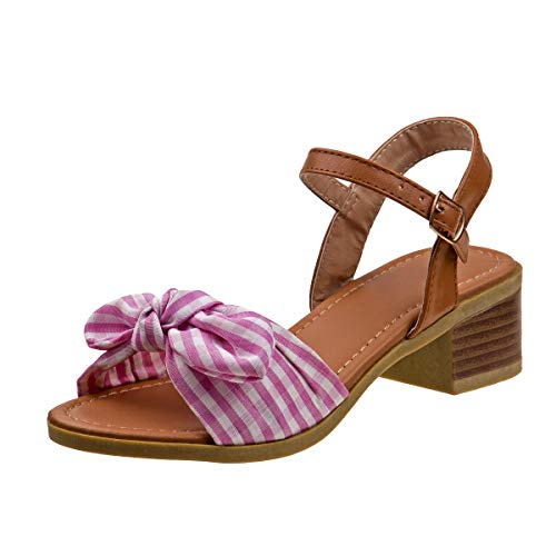 Kensie Girl Gingham Bow Sandals with Easy Elastic Buckle and Rugged Sole, Pink, Size 13 M US Little Kid' ()