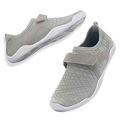 WALUCAN Girls' & Boy's Water Shoes Aqua Shoes Athletic Sneakers Lightweight Sport Shoes(Toddler/Little Kid/Big Kid) Grey Size: 1 Little Kid