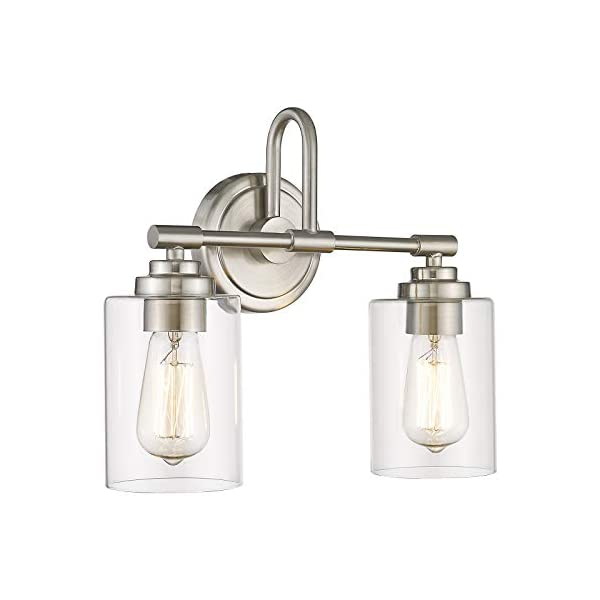 Akezon 2 Light Bathroom Vanity Light Fixtures Bathroom Lights Over Mirror With Clear Glass Shade Brushed Nickel Finish Savvy Settings Decor