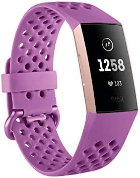Fitbit Charge 3 Fitness Activity Tracker, Rose Gold Berry, One Size S L Bands Included