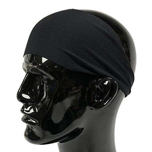 Temple Tape Headbands for Men and Women - Mens Sweatband & Sports Headband Moisture Wicking Workout Sweatbands for Running, Crossfit, Yoga and Bike Helmet Friendly - Black