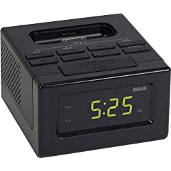 RCA RC130i Clock Radio with Built-In iPod Dock Compatible iPhone 4/4S Along with iPod Touch/Video/Nano Generation Models - Black