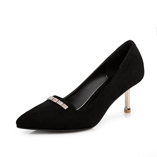 Women's Solid Closed Heels Pumps Kitten WeiPoot Imitated Shoes Pointed Suede Black Toe fqAwFqxdU5