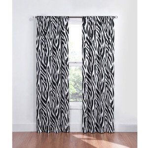 Black White Zebra Blackout Energy Saving Noise Reducing Window Curtain One 42x84 Panel
