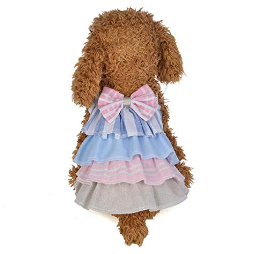 YOTATO Birthday Bow Cake Cat Dog Dress Pet Puppy Princess Skirts Clothing Apparel -