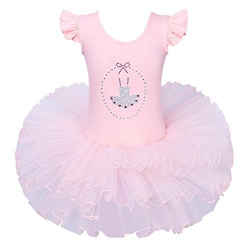 BAOHULU Little Girls Leotards Dance Ballet Tutu Princess Dress Ballerina Costumes 3-8Y B185_Peach_XL