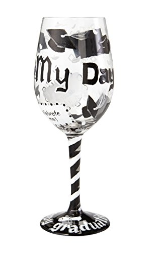 "Designs by Lolita ""It's My Day"" Hand-painted Artisan Wine Glass for Graduates, 15 oz."