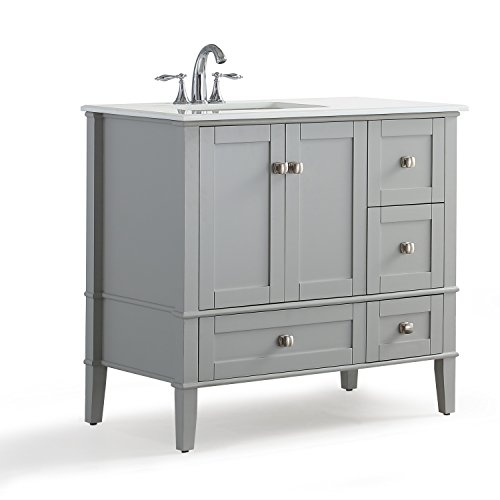 Simpli Home Chelsea 36 inch Left Offset Bath Vanity with White Quartz Marble Top, Grey Grey Vanity