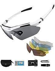 ROCKBROS Gepolariseerde Sportbril UV400 Bescherming met 5 Verwisselbare Lenzen Fietsbril Dames Heren voor Buitensporten Fietsen Motorrijden Hardlopen Vissen Golf