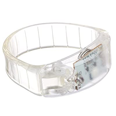 Lilware Dare to Be Visible Hard Plastic Party Bracelet Wristband With LED Flashing Light and Sound Sensor. Transparent
