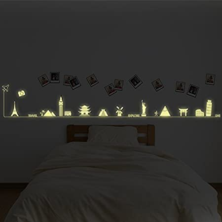 Removable Self Adhesive Wall Stickers Travel Around The World Glow