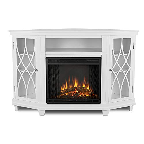 Real Flame Lynette Electric Fireplace in White Finish (Corner Fireplace White)