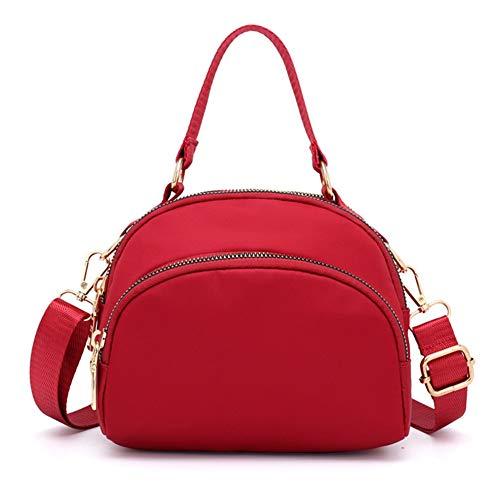 Badiya Women Anti-splash Water Shoulder Messenger bag Multi Pocket Crossbody Bags Handbags Tote Purse Red