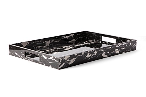 Carla Carstens Black & White Marble Acrylic Large Tray with Cutout Handles | Vanity Tray Cosmetic Jewelry Storage Handmade Rectangle Ottoman Catchall Serving Black Marble Tray