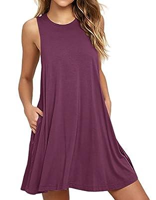Iandroiy Women's Pockets Casual Swing Sleeveless T-shirt Dresses