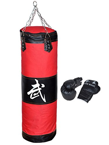 "W-ShiG 39"" Heavy Bags and Boxing gloves, MMA Boxing Heavy Punching Training Bag with Chain(Empty) + Boxing Gloves Set Kit Taekwondo Training Fitness Heavy Boxing Sand Bag Workout Muay Thai Kick Bag"