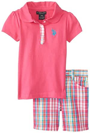 U.S. Polo Assn. Baby Girls' 2 Piece Set Polo Shirt and Plaid Bermuda Shorts, Pink Kite, 12 Months