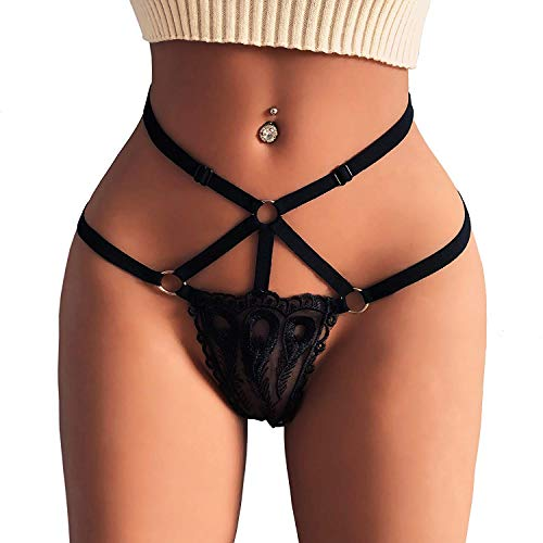 Women's Black Charming Thong Lingerie Lace G-String T-Back Panties Strappy Body Harness Panties (Black, Small)