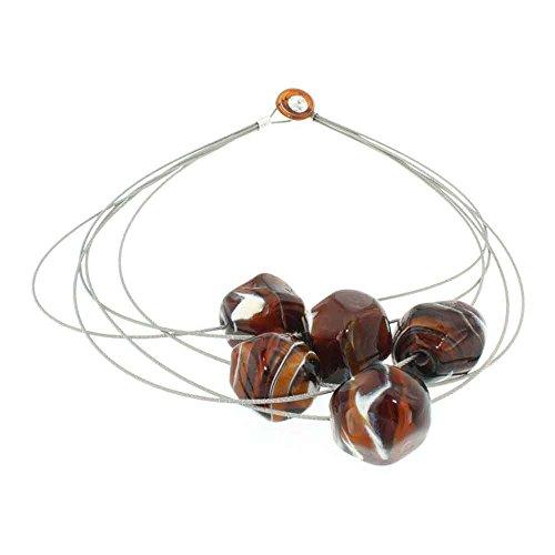 Susanna Martini Handmade necklace design Murano Glass woman STONE5 caramel Made in Italy