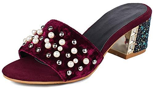 Mofri Women's Elegant Beaded Open Toe Slip On Mid Chunky Heel Mules Sandals (Wine Red, 7 B(M) US) by Mofri