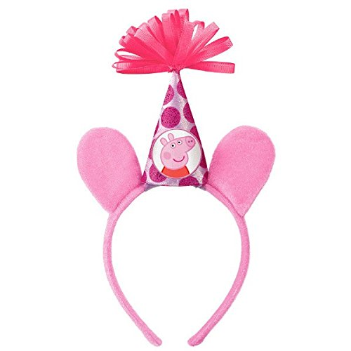 Amscan Peppa Pig Birthday Party Deluxe Headband Accessory, Pink, Fabric, 8