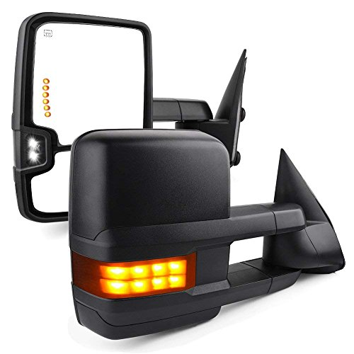 - SYPPO for 2003-2006 Chevy Silverado Tahoe Suburban Avalanche GMC Sierra Yukon Cadillac Towing Mirrors Escalade Power Heated with LED Signal Lamp & Backup Lamp Black Housing Pair Mirrors