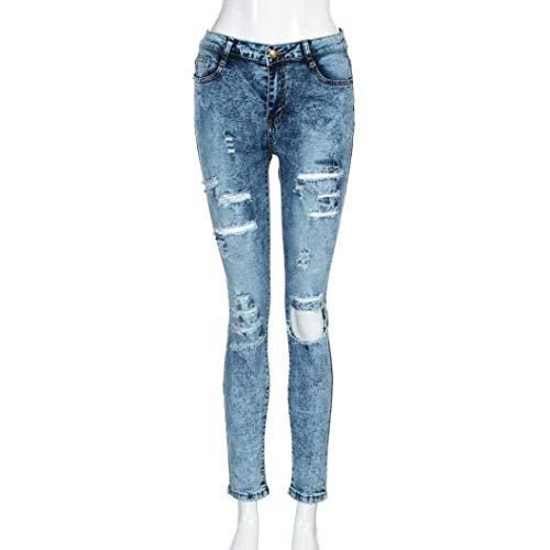 Mezclilla Slim Pantalones Fit Colour Mujer Boyfriend Huixin Agujeros De Alta Lápiz Stretch Rasgados Chern Vaqueros Cintura Para SCOnxqp8