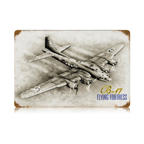 Sign Flying Tin (B-17 Flying Fortress Vintage Metal Sign Aviation 18 X 12 Steel Not Tin)