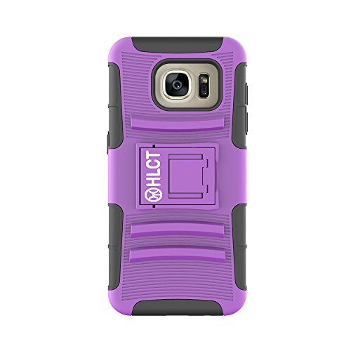 Price comparison product image Galaxy S7 Edge Case,  HLCT Rugged Shock Proof Dual-Layer Case with Built-In Kickstand for Samsung Galaxy S7 Edge (2016) (Purple / Black)