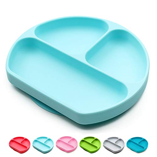 Suction Plate for Toddlers, Silicone Baby Plates and Bowls, Kids Feeding Divided Dishes, BPA Free, Stick to HighChair Tray, Children placemat (Light Blue)