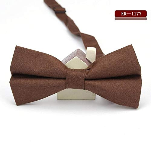 Graven KR1167-1179 Men's Bow Tie Adjustable 100% Cotton Butterfly Cravat Red Blue Pink Solid Color Bowtie Tuxedo Bows Male Accessories - (Color: MBKR 1177)
