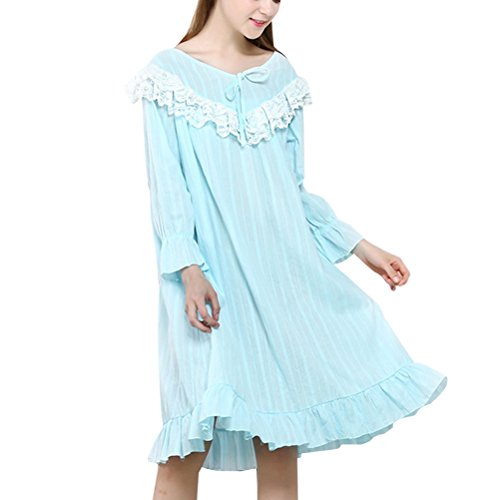 Zhhlaixing 2 Colors Sweet Princess Sleep Skirt Pajama Fashion Womens Cotton Sleepwear Blue