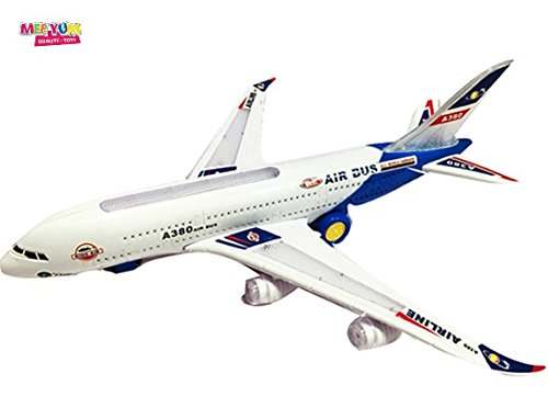 Airplane Motorized (MeeYum Kids Battery Powered Light Up Toys Electric Airplane Jet Air Bus A380 Action LED Lights and Sounds; Bump and Go Action Gift for Toddler Kids Age 3 4 5 6)