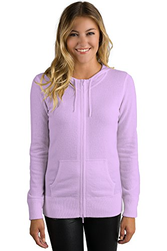 JENNIE LIU Women's 100% Pure Cashmere Long Sleeve Zip Hoodie Cardigan Sweater (M, Wisteria)